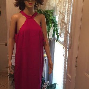 High neck pink formal dress